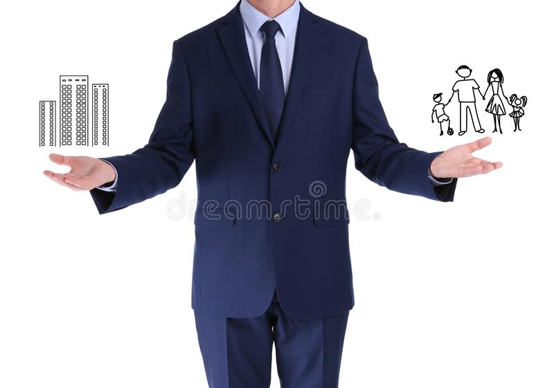 Man finding balance between work and family on white. Life harmony royalty free stock photography