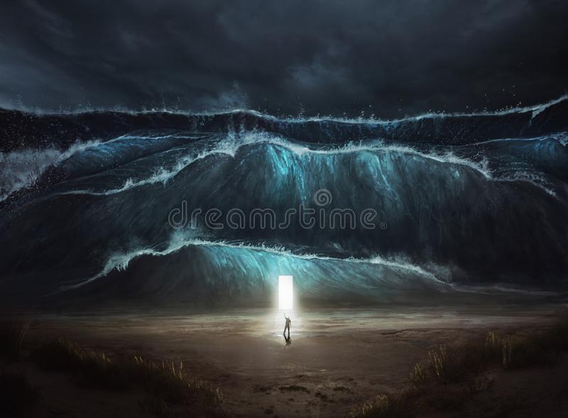A man finds safety in the storm royalty free stock image