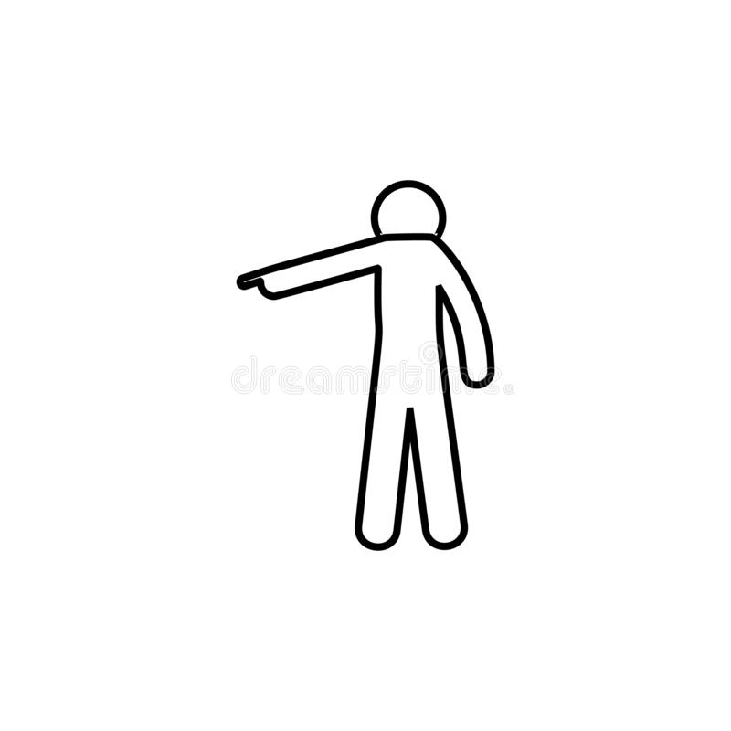 Man finger, down icon. Element of man pointing finger thin line icon. On white background royalty free illustration