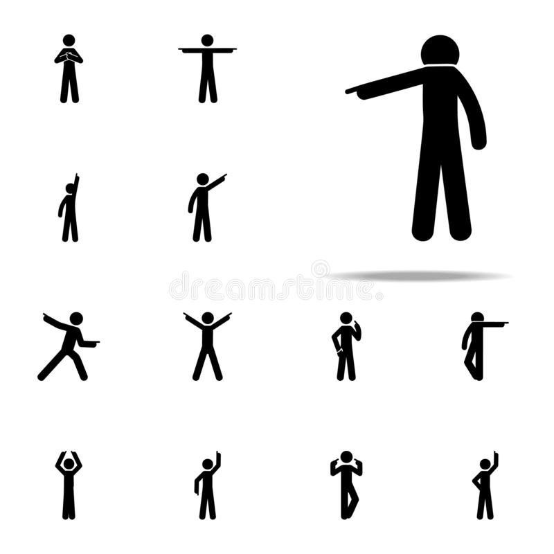 man finger, down icon. Man Pointing Finger icons universal set for web and mobile stock illustration