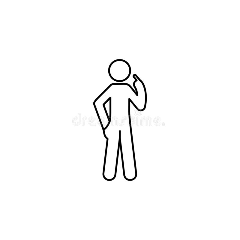 Man finger, himself icon. Element of man pointing finger thin line icon. On white background royalty free illustration