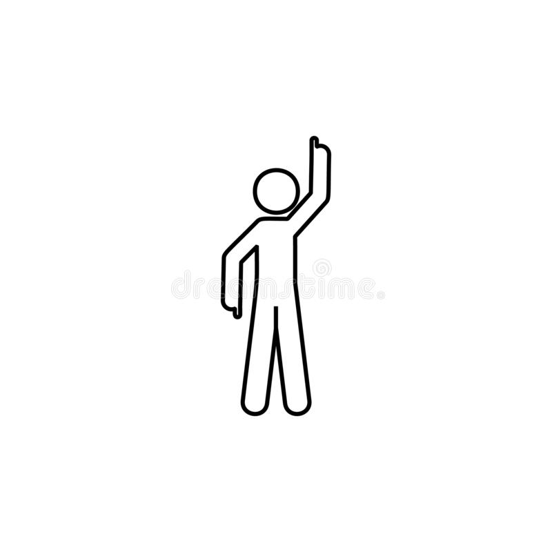 Man finger icon. Element of man pointing finger thin line icon. On white background vector illustration