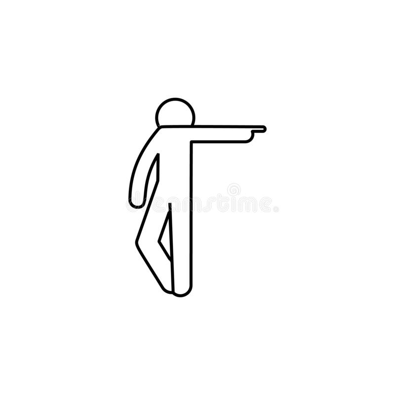 Man finger, pointing icon. Element of man pointing finger thin line icon. On white background royalty free illustration