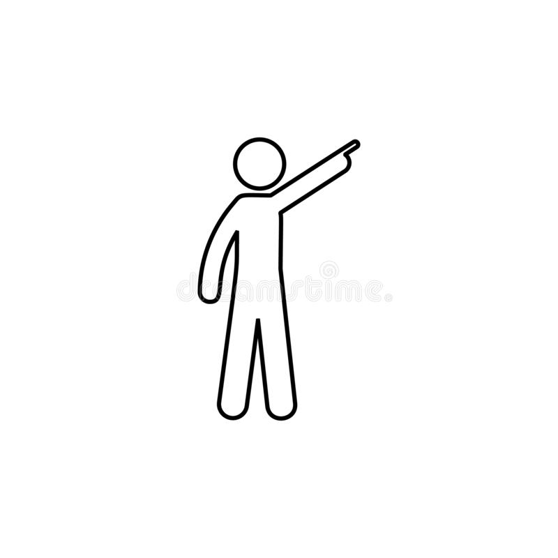 Man finger, up icon. Element of man pointing finger thin line icon. On white background royalty free illustration
