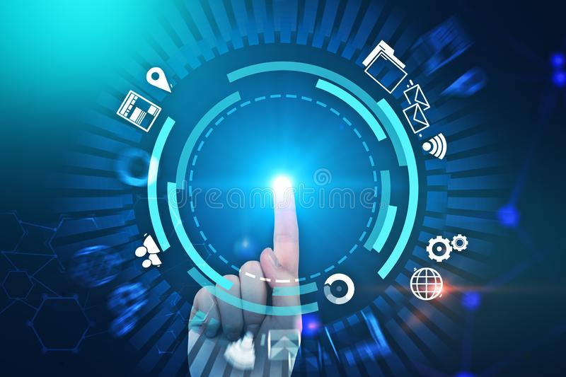 Man finger using gui interface internet icons blue. Man hand with glowing finger touching internet icons interface. Blue futuristic background. Hi tech and ai royalty free illustration