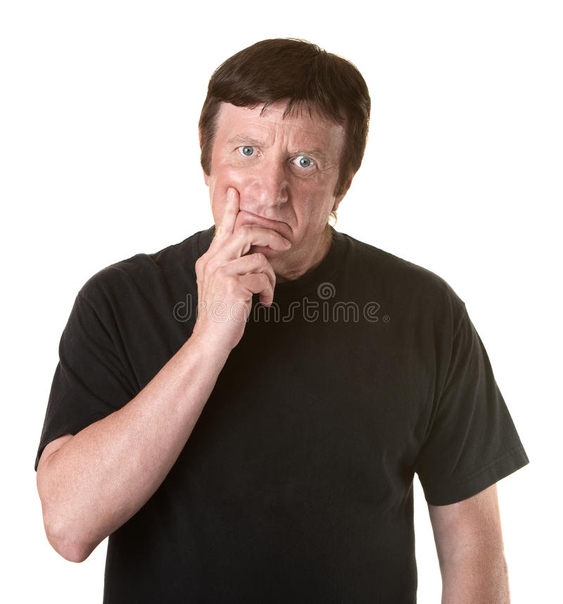 Download Man With Fingers On Chin stock photo. Image of manly - 20645544
