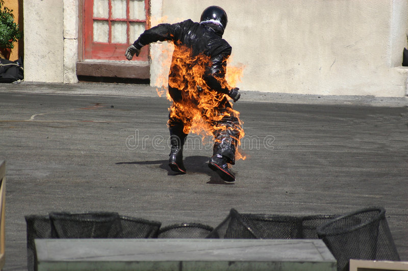 Man on Fire royalty free stock image