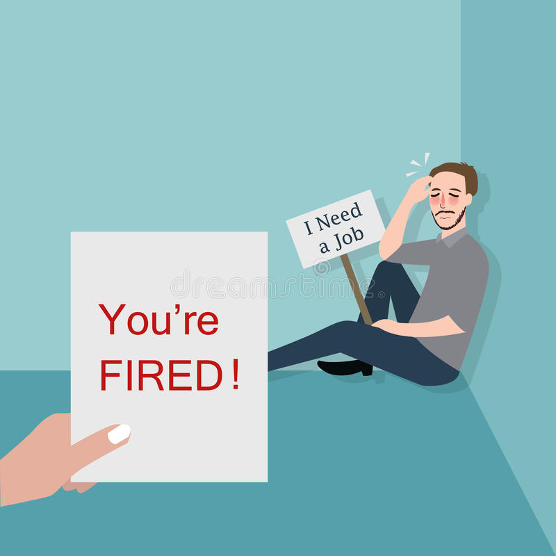 Man fired looking for a job. Vector stock illustration