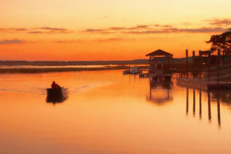 Man Fishing in a Boat During Sunset. One man is fishing in a boat during sunset near a dock in Murrells Inlet South Carolina. This is computer generated art from stock images