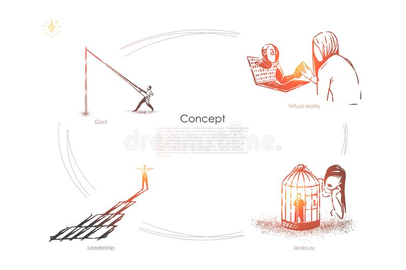 Man fishing, girl communicating with chat bot, woman holds lover in birdcage, surreal conceptions banner vector illustration