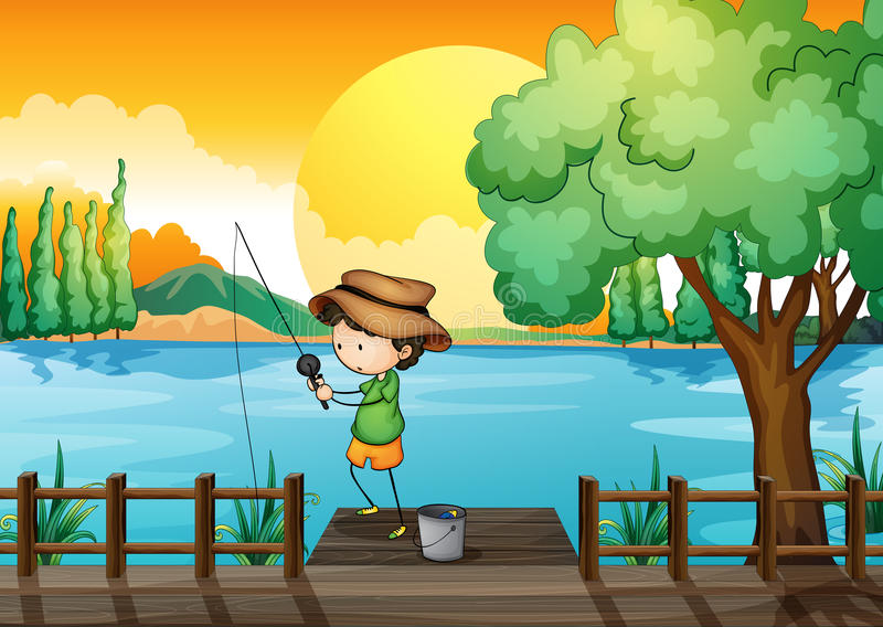 A man fishing royalty free illustration