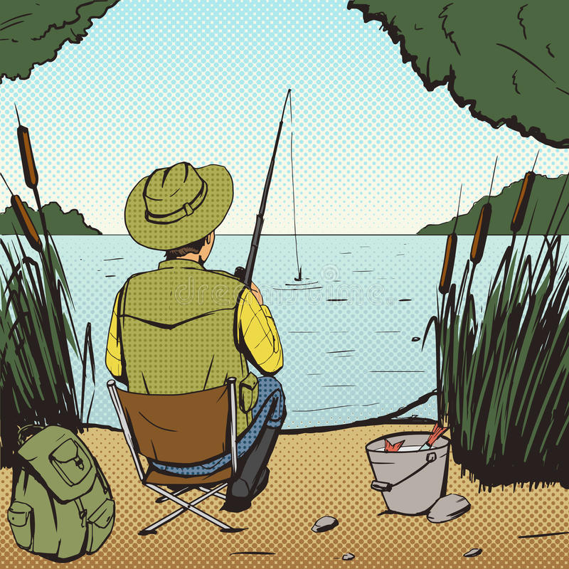 Man fishing on lake pop art style vector vector illustration