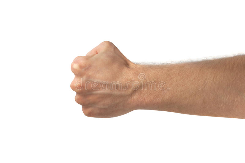 Man fist isolated on white background. Concept of protest stock photos