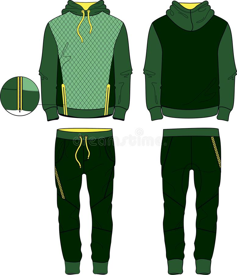 Free Man Fit Suit Set Hoodie And Joggers Pants With Zipper Template Stock Photos - 182250703