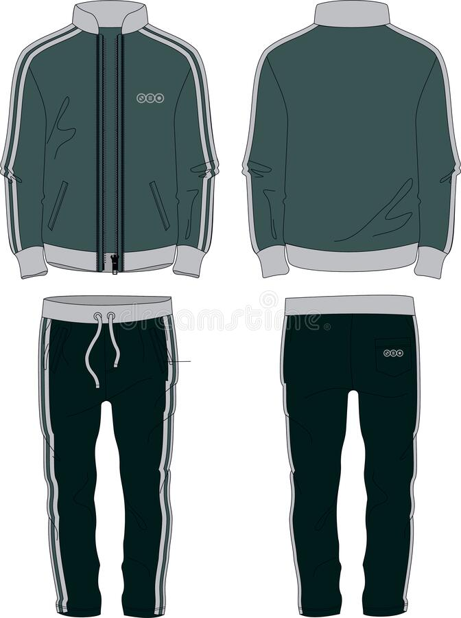 Free Man Fit Suit Set Jacket Zipper And Joggers Pants Template Wear Stock Photos - 182250363
