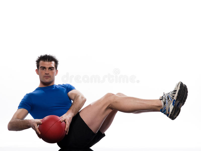 Man fitness ball Worrkout Posture exercise stock image