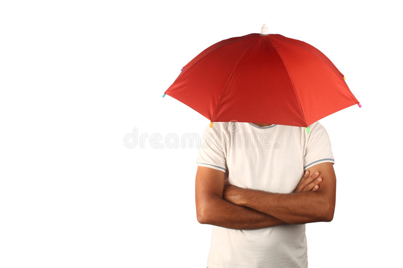 Man with fixed umbrella. Man with a fixed umbrella on his head. Suitable for concept stable protection with freedom stock photography