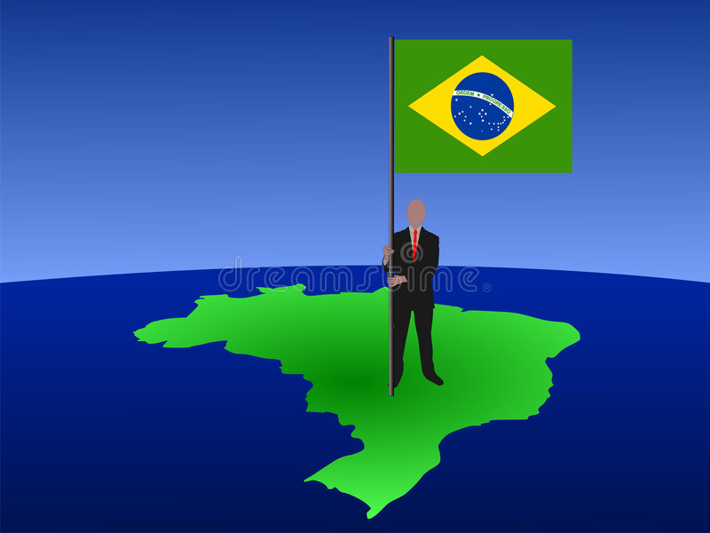 Man with flag of Brazil on map stock illustration