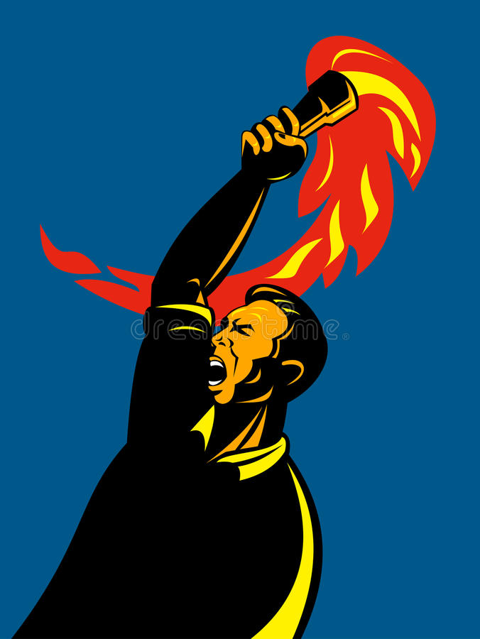 Man with flaming torch stock illustration