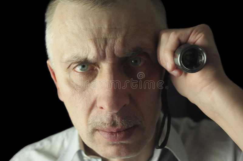 Download A man with a flash ligh stock image. Image of grip, adult - 38456495