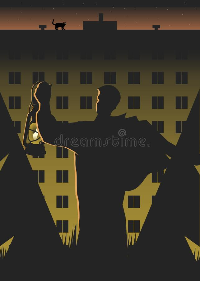 A man with a lamp vector illustration