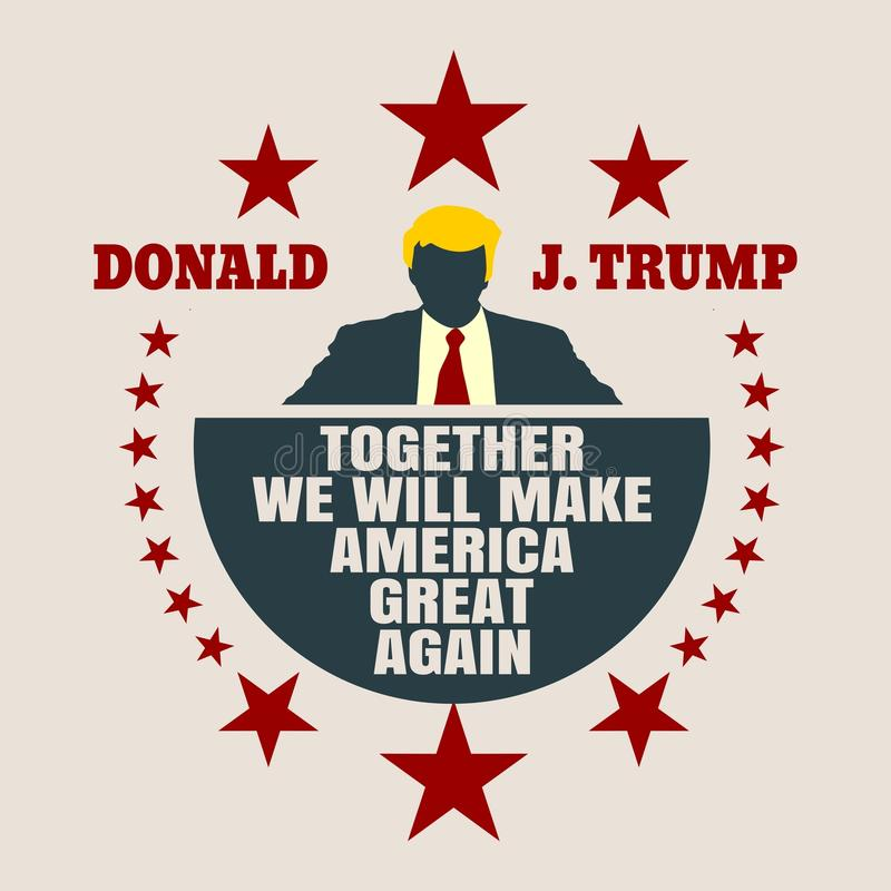 Man flat icon with Donald Trump quote. USA - January, 2017: A vector illustration of a businessman icon in flat style and the US President Donald Trump name vector illustration