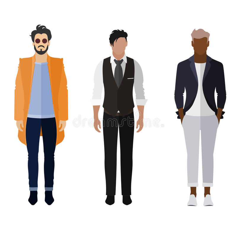 Man flat style icon people figures set: trendy, business stock images