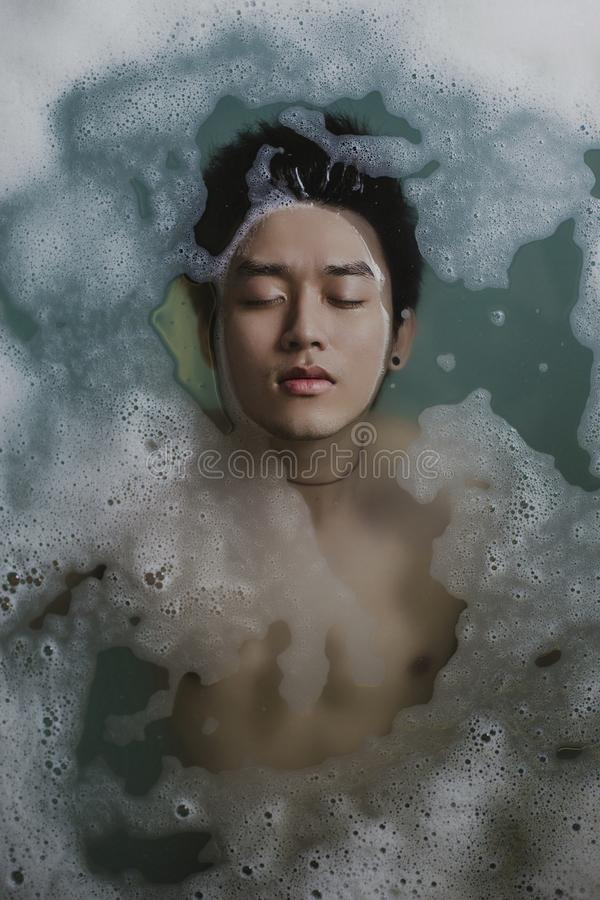Man Floating In Soapy Bath Free Public Domain Cc0 Image