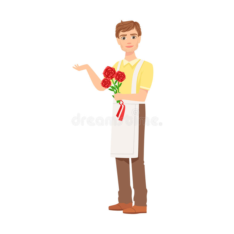 Man Florist In Apron Working As Flower Shop Attendant Holding Bouquet Of Roses In Hands. Professional Creating Floral Composition In The Plant Store Cartoon vector illustration