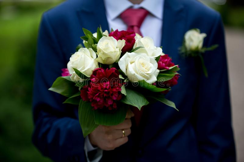 Man with flower bouquet stock image. Image of love, birthday - 108095673