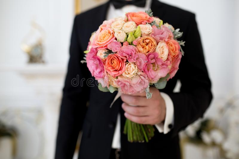 Man with flower bouquet stock photo. Image of blossom - 108095962