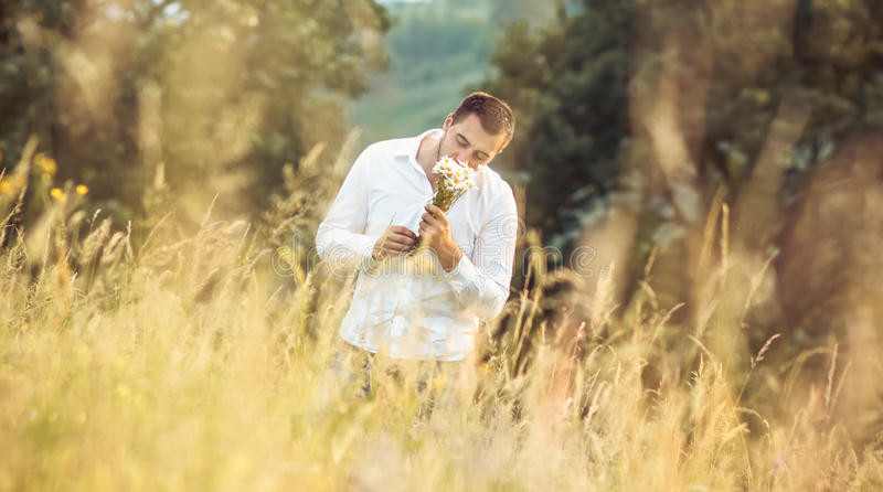 Man with flowers. Man with flower standing in a grass - meadow. Leisure concept. Outdoor. Gorgeous guy smell camomile stock photos