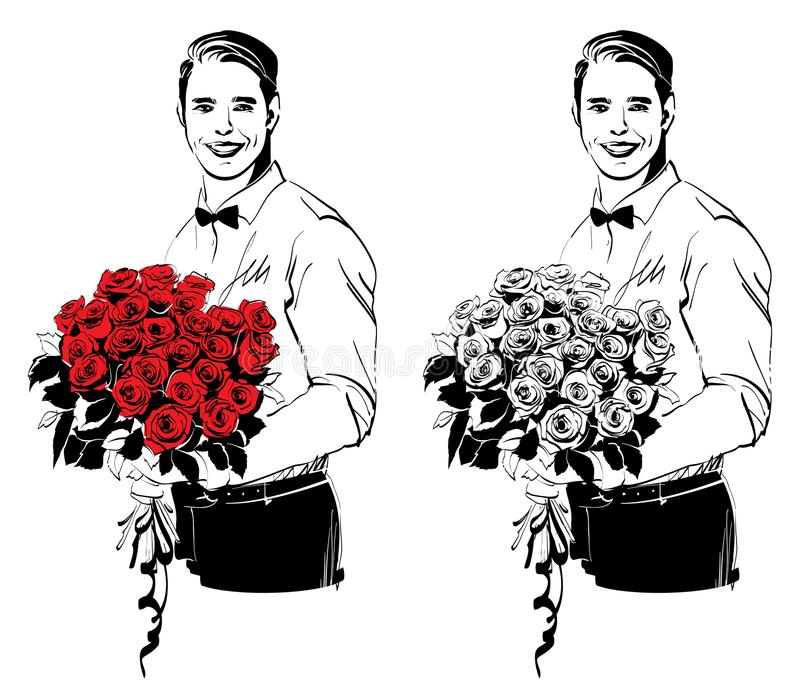 Man with flowers royalty free illustration