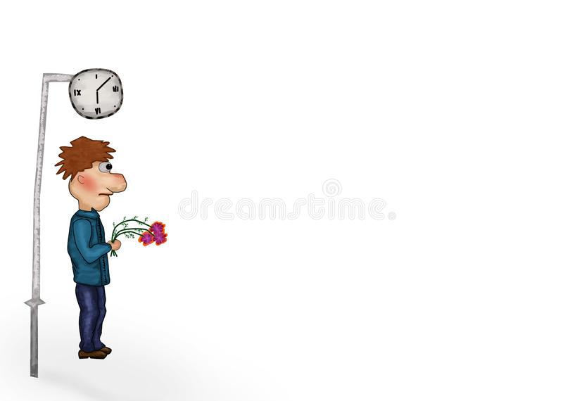 Man with flowers waiting for a girl. Illustration of boy waiting near clock. Young man standing holding a bouquet of flowers and waiting someone vector illustration