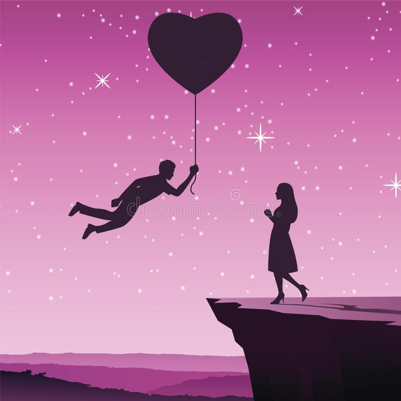 Man fly by hold heart balloon to give to woman,concept art mean he send love to his lover stock illustration