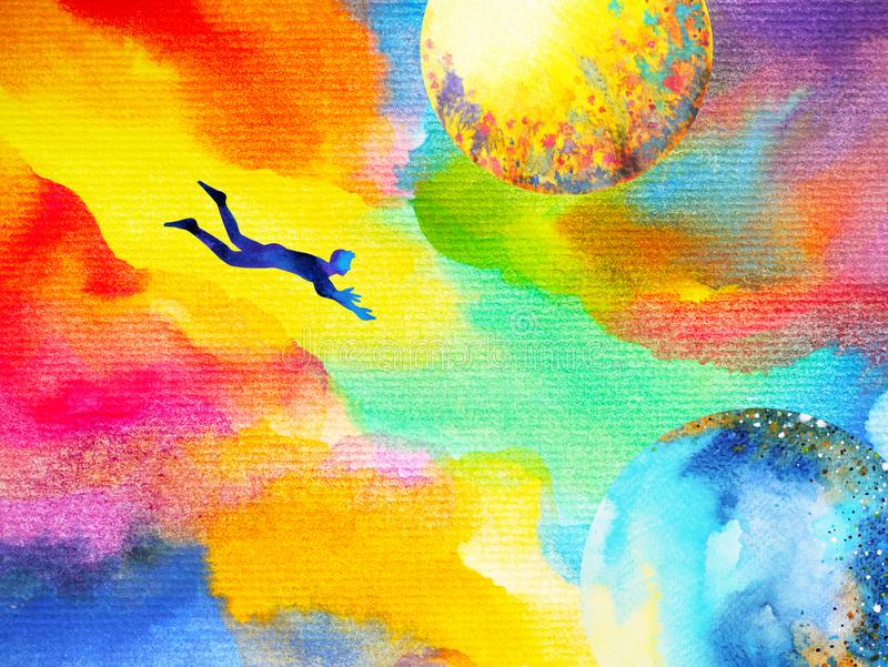 Man flying in abstract colorful dream universe illustration royalty free illustration