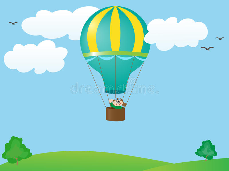 Man Flying In A Balloon Royalty Free Stock Photos