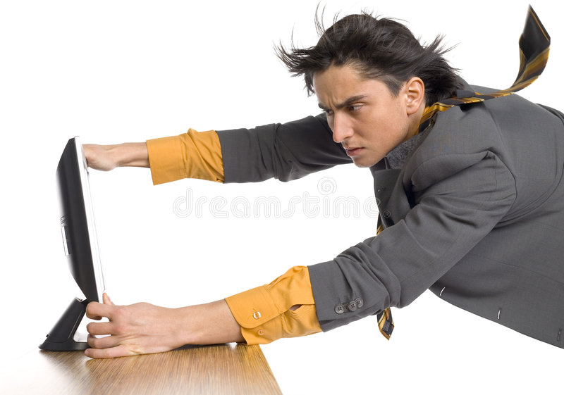 Download Man flying at computer stock image. Image of blowing, conceptual - 2194549