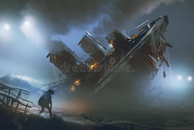 Man flykten ett sjunkande skepp i regnig natt stock illustrationer