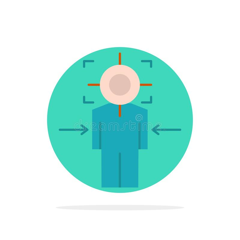 Man, Focus, Target, Achieve, Goal Abstract Circle Background Flat color Icon vector illustration
