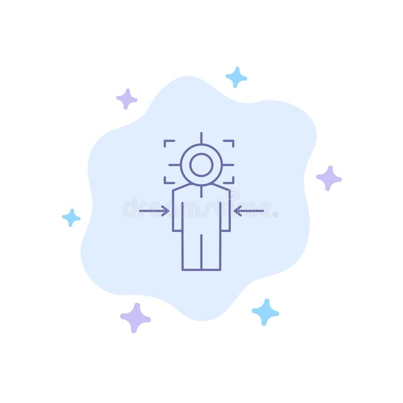 Man, Focus, Target, Achieve, Goal Blue Icon on Abstract Cloud Background royalty free illustration