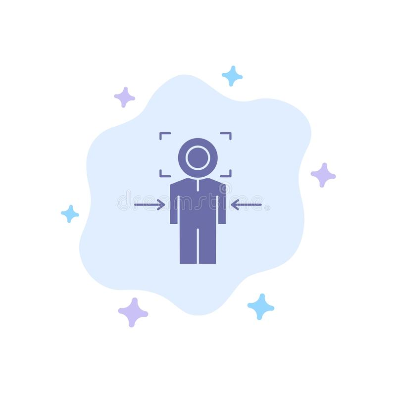 Man, Focus, Target, Achieve, Goal Blue Icon on Abstract Cloud Background stock illustration