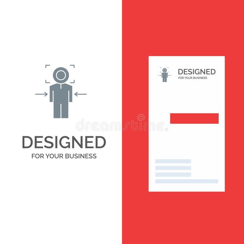 Man, Focus, Target, Achieve, Goal Grey Logo Design and Business Card Template ilustração stock