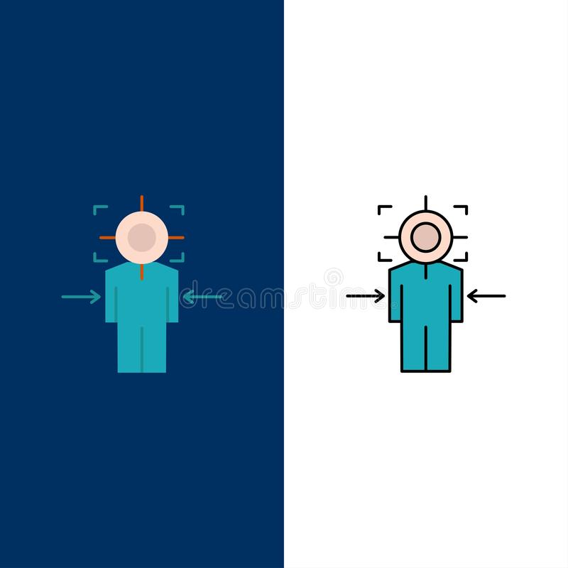 Man, Focus, Target, Achieve, Goal  Icons. Flat and Line Filled Icon Set Vector Blue Background royalty free illustration