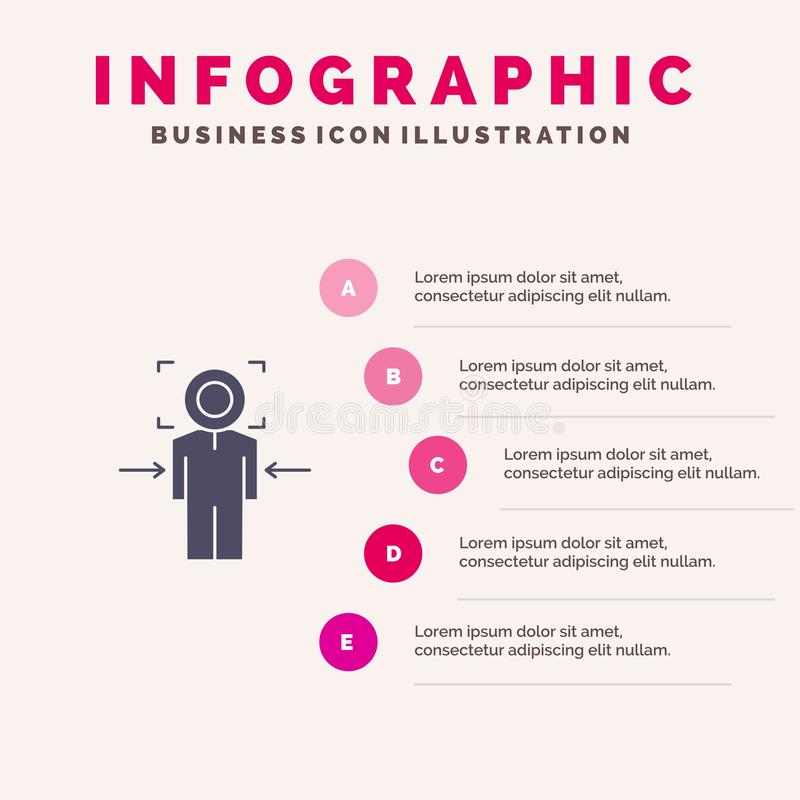 Man, Focus, Target, Achieve, Goal Solid Icon Infographics 5 Steps Presentation Background royalty free illustration