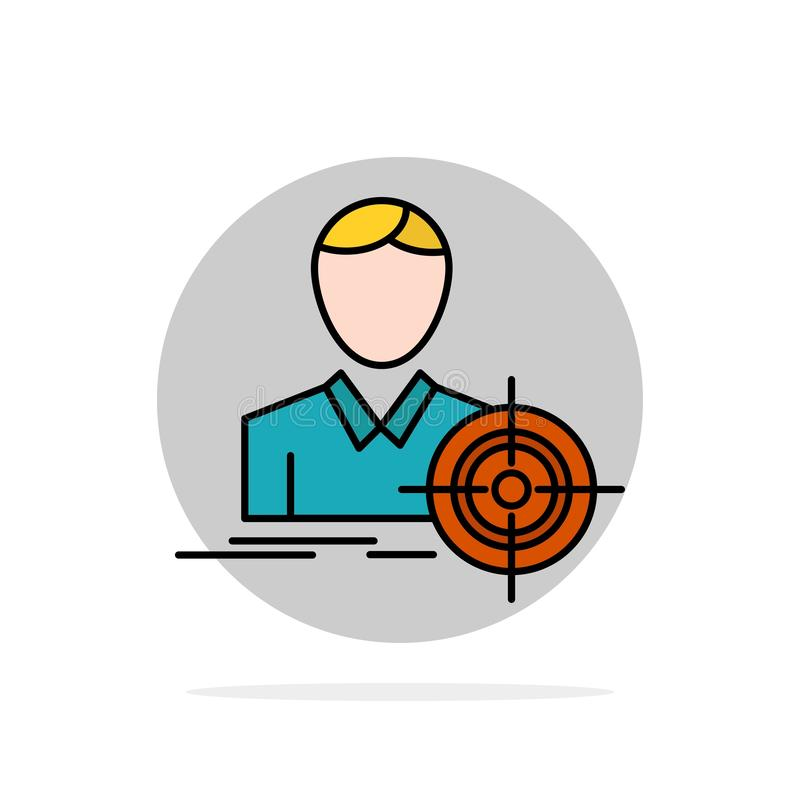Man, Focus, Target, Goal Abstract Circle Background Flat color Icon vector illustration