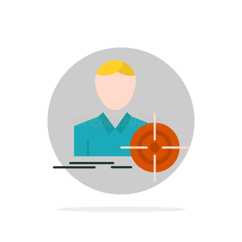 Man, Focus, Target, Goal Abstract Circle Background Flat color Icon stock illustration