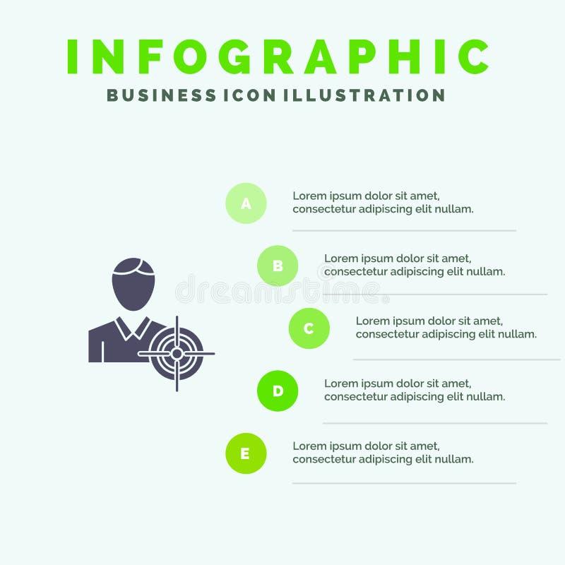 Man, Focus, Target, Goal Solid Icon Infographics 5 Steps Presentation Background royalty free illustration