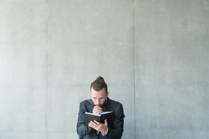Man focused read education knowledge information royalty free stock image