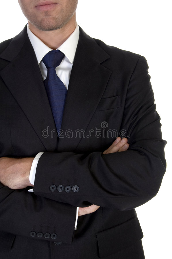 Man with folded hands stock image